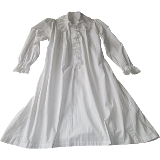 Antique French Fine Cotton Nightgown with Delicate Lace Ruffles and Tucks