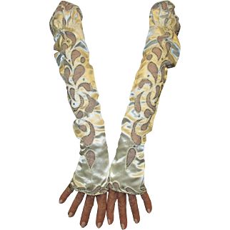 Glorious Pair of Satin Silk Gauntlets with Inset Lace, Silver Beads and Rhinestones c 1920