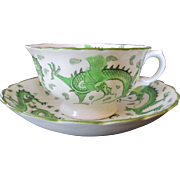 Striking English Tuscan China Cup and Saucer c 1920 ~ Oriental Style Dragon Design in Green and White