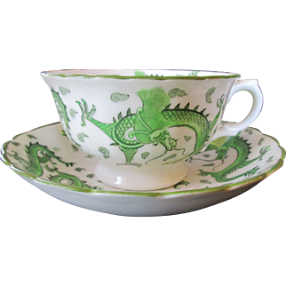 Striking English Tuscan Cup and Saucer ~ Oriental Style Dragon Design in Green and White - c 1920