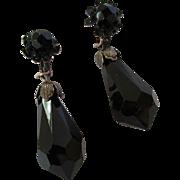 Vintage Miriam Haskell Faceted Black Glass Pendant Earrings c 1940