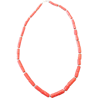 Rare Native American Tubular Red Coral and Silver Bead Heishi Necklace