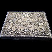 Italian Silver Repousse Snuff or Pill Box