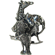 Unique Sterling Silver Brooch -Group of African Animals - D'Molina Taxco - c 1960
