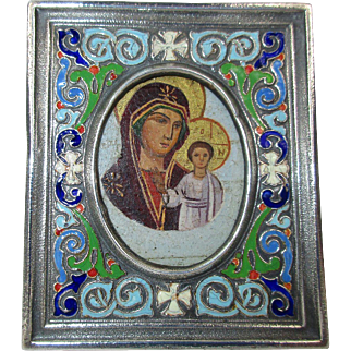 Antique Russian Miniature Icon Silver and Enamel Riza  - Kazanskaya Mother of God