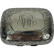 Sterling Silver Rounded 'Florentine' Acid Etched Hinged Soap Box - c 1900