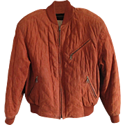 Vintage Designer Suede Quilted Bomber Jacket - Christiano di Thiene- in 'Burnt' Caramel Color - US 42