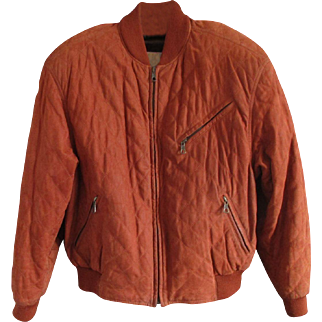 Stunning Designer Suede Quilted Bomber Jacket - Christiano di Thiene- in 'Burnt' Caramel Color - US 42