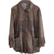 Exceptional Quality Suede Generously Fringed Jacket -Deep Chocolate Brown - US 18