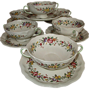 Set of 6 English Royal Doulton Soup Cups and Saucers c 1930