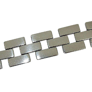 Rare Large Georg Jensen 'Brick Link' Sterling Bracelet by Astrid Fog Design No. 194 - c. 1970