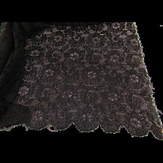 Large Vintage Black Lace Remnant