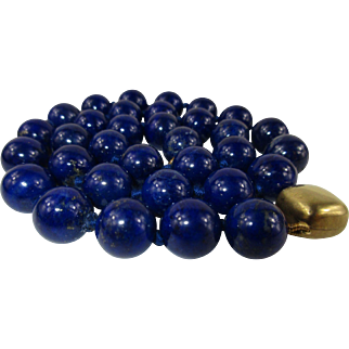"""Natural 10mm Lapis Lazuli Bead Necklace 20"""" with 9 kt gold clasp"""