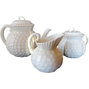 Vintage Lenox Small Teapot, Covered Sugar and Cream Jug ~ Hawthorne White Pattern c 1930