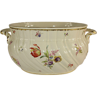 Large French Faience Jardiniere/Wine Cooler-Hand Painted Florals with Gilding  c. 1920