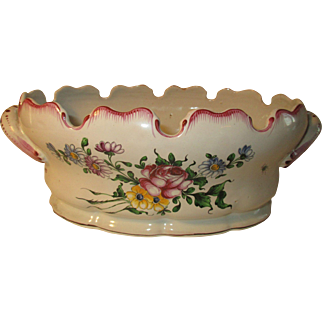 French Faience Champagne Glass Cooler/Cachepot