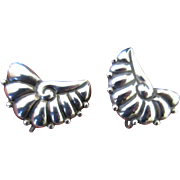 Vintage Mexican Taxco Repousse Sterling Silver Earrings with Applied Beads