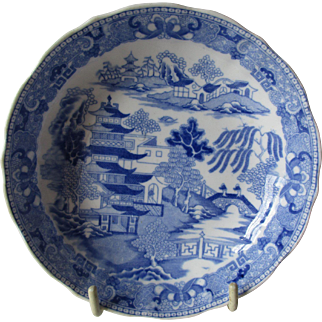 Rare Antique Miles Mason Saucer Dish 'Broseley Willow' Pattern c 1807
