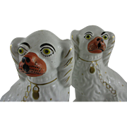 Pair of Antique English Staffordshire Dogs - c 1850