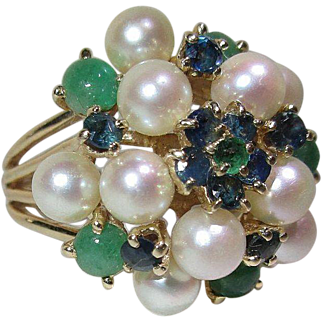 Cultured Pearl Sapphire Emerald and Jade 14 Karat Gold Cocktail Dinner Ring