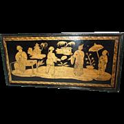 Antique English Regency Penwork Box with Sliding Top - c 1810