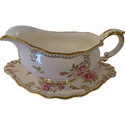 Royal Crown Derby Gravy Boat and Under Plate -  'Royal Pinxton Roses'