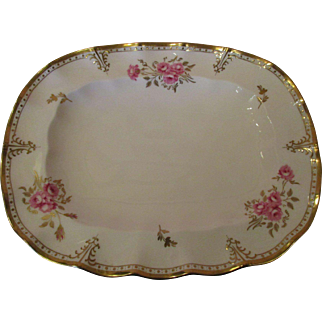 "Stunning Royal Crown Derby Oblong Serving Platter 14 1/2"" in the 'Royal Pinxton Roses' pattern"