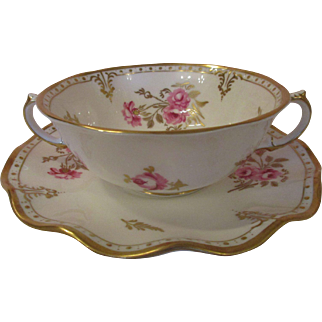 Royal Crown Derby 'Royal Pinxton Roses' Cream Soup Cups and Saucers- Set of 8
