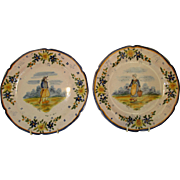 Pair Antique Quimper French Plates ~ c 1904