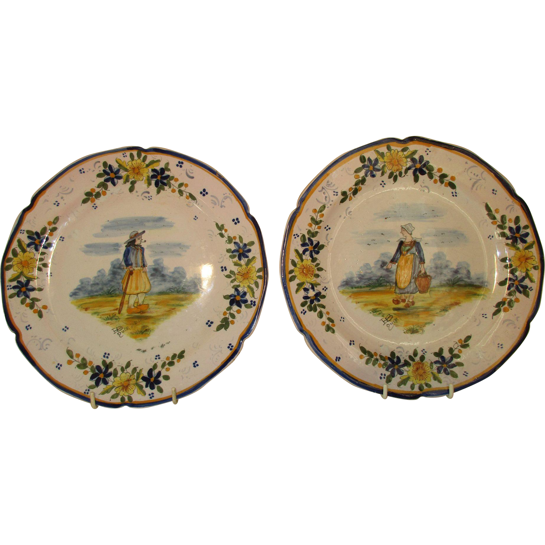 Pair antique quimper french plates c 1904 from exclusive heirlooms on ruby lane - Vintage antique baby room ideas timeless charm appeal ...