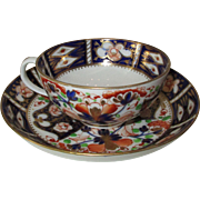 Antique Royal Crown Derby 'Imari' Tea Cup and Saucer ~ c.  1806-1825