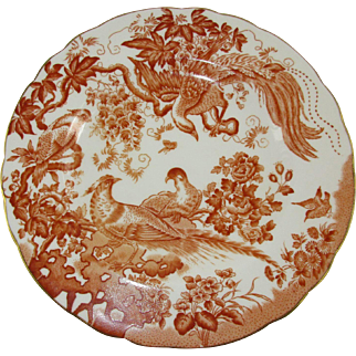 Set of 5 Royal Crown Derby 'Red Aves' Breakfast or Tea Plates - 1962