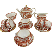 Elegant Royal Crown Derby 'Red Aves' 13 Piece Tea Set for 5/6 ~ c 1962 ~ Including Tea Pot,  Sugar Bowl, Milk Jug and Cups and Saucers