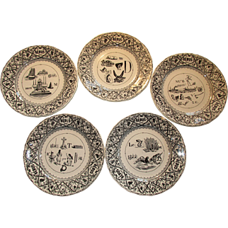 A Set of Five Antique French 'Rebus' Dessert Plates ~ Late 1800's