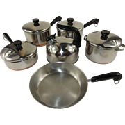 Revere Ware Child's Toy Miniature Set of Pots, Pans and Kettle - Full 6 Piece Set c. 1955