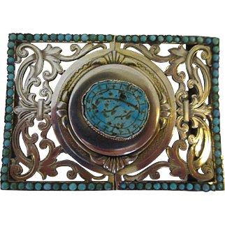 Antique Russian Silver and Turquoise Belt Buckle c. 1896