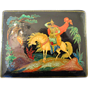 Classic Palekh Russian Soviet Hand Painted Lacquer Box - 1970