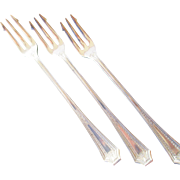 Three Matching Vintage Silver Plated Seafood Forks