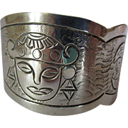 Vintage Sterling Mexican Style Cuff Bracelet