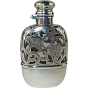 Antique Glass Flask with Striking Sterling Silver Overlay and Fitted Cup - c 1900  - No monogram