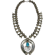 Early Vintage Navajo Squash Blossom Sterling Silver with Turquoise Necklace  - c 1930-50