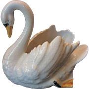 Rare Small Staffordshire Pottery Swan for Flowers or Decoration c 1900