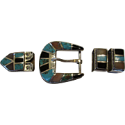 Vintage Sterling Silver Ranger Belt Buckle Set Inlaid with Turquoise, Onyx and Shell