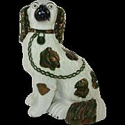 Medium Antique Staffordshire King Spaniel Luster Dog c. 1860