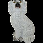 "Antique 9"" Staffordshire King Spaniel Dog - White with 'Raised' Coat - c. 1860"