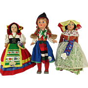 """Three Vintage International Dolls from the mid 1960's - 10-12"""""""