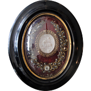 Rare large Antique French Reliquary Leo XIII domed glass with original seals c1900