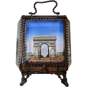 Antique French jewelry box / pocket watch holder with Arc de Triomphe Paris c1900-1910