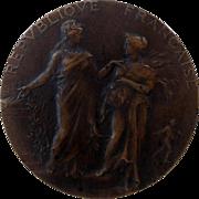 Large Antique French Art Nouveau Bronze Medal signed 1905