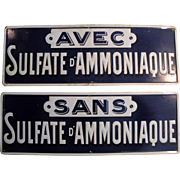 2 Vintage French Tin Lithograph Signs Chemistry Apothecary c.1930